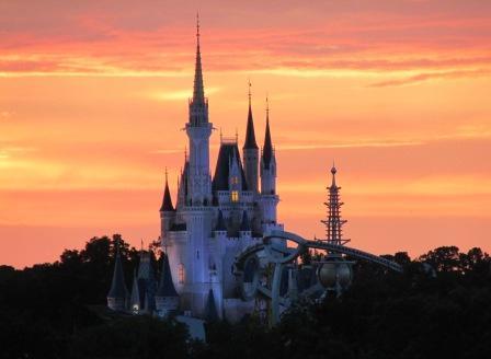 Disney World Magic Kingdom Cinderella Castle at Sunset